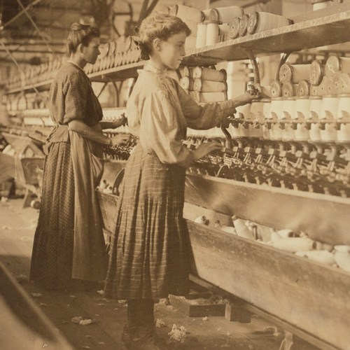 "Globe Cotton Mill, Augusta, Ga. Woman was ""with child."" According to reports, these women work until the day of childbirth. Location: Augusta, Georgia."
